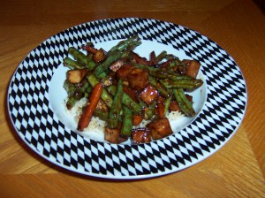 Green Beans and Tofu in Tangy Garlic Sauce