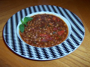 Lentil Soup with Tomato and Basil